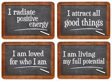Positive affirmation - blackboard set Stock Image