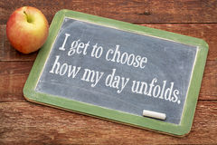 Positive affirmation phrase on blackboard stock photo