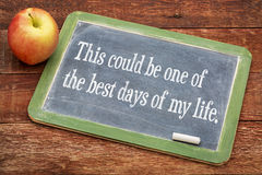 Positive affirmation phrase on vintage blackboard royalty free stock photos