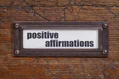 Positive affirmations - file cabinet tag Stock Photos