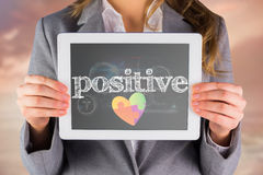 Positive against medical biology interface in black Royalty Free Stock Photography
