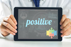 Positive against medical biology interface in blue Royalty Free Stock Images