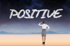 Positive against serene landscape Royalty Free Stock Photography