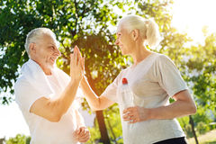 Positive aged couple resting in the park after jogging Royalty Free Stock Photo
