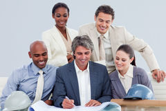 Positive architects studying blueprints Royalty Free Stock Image