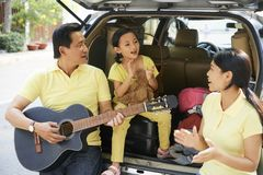 Family singing together royalty free stock images