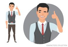 Positive asian guy smiling and recommended. Stock Photography