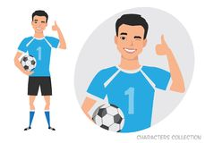 Positive asian soccer player smiling and recommended. Laughing football player showing thumbs up Royalty Free Stock Images