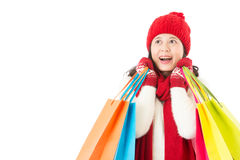 Positive asian woman face dream for winter sale Royalty Free Stock Images