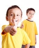 Positive attitude. Happy children with positive attitude. White background stock photos