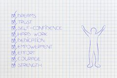 Positive attitude chacklist next to happy man. Concept of elements needed to reach any goal Stock Image