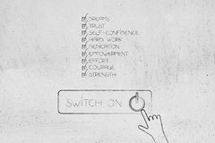Positive attitude chacklist next to Switch On button with hand c. Licking, concept of elements needed to reach any goal Stock Image