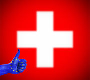 Positive attitude of the European Union for Switzerland. Concept photo - positive attitude of the European Union for Switzerland Stock Photo