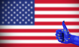 Positive attitude of the European Union for the United States. Concept photo - positive attitude of the European Union for the United States royalty free stock photos