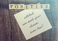 Positive attitude quote Stock Image