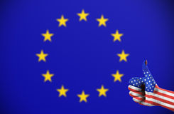 Positive attitude of United States for the European Union. Concept photo - positive attitude of United States for the European Union Royalty Free Stock Photo