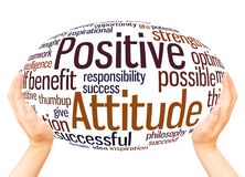Positive Attitude word cloud hand sphere concept. On white background stock images