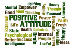 Positive Attitude. Word cloud on white background Stock Image