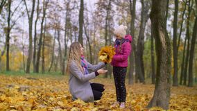 Cheerful mother and daughter enjoying fall season. Positive attractive mother helping her cute elementary age daughter arranging bouquet of yellow fallen maple stock video footage