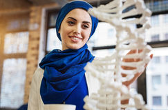 Positive attractive muslim woman studying DNA model Stock Photos