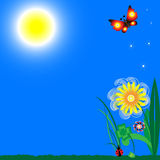 Positive background. Blue sky with bright sunshine, green grass, flower, clover, ladybug and two butterflies, feathers, positively and joyfully Stock Photo
