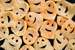 Positive. Background of positive cookies on a dark background Royalty Free Stock Images