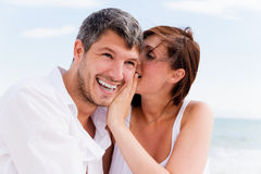 Positive beach couple Royalty Free Stock Image