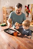 Positive father and son putting cookies into gift box stock photos