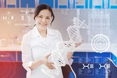 Positive biologist smiling and holding a big DNA model. Holding DNA model. Cheerful emotional biologist standing with a big DNA model in her hands and looking royalty free stock images