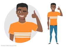 Positive black african american guy smiling and recommended. Stock Image