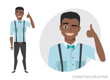 Positive black african american guy smiling and recommended. Stock Photography