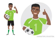 Positive black african american soccer player smiling and recommended. Laughing football player showing thumbs up Royalty Free Stock Image
