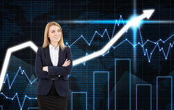 Positive blond woman and graphs on blue Royalty Free Stock Photography