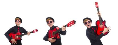 The positive boy with guitar isolated on white stock photo