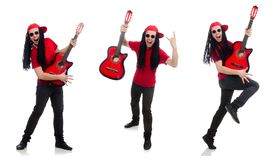 The positive boy with guitar isolated on white royalty free stock photos