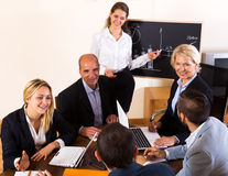 Positive brainstorming in office Royalty Free Stock Photos