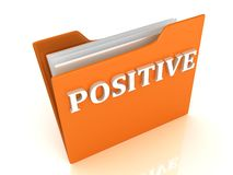 POSITIVE bright white letters on a orange folder Royalty Free Stock Photos