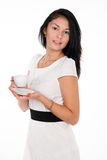 Positive brunette girl with cup of coffee Royalty Free Stock Photography