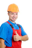 Positive builder worker isolated Royalty Free Stock Photos