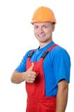 Positive builder worker isolated Royalty Free Stock Images