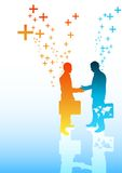 Positive Business. A couple of businessmen shaking hands. One has the world in his briefcase Royalty Free Stock Images