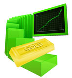 Positive business graph of golden goods vector Royalty Free Stock Photo