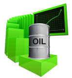Positive business graph of oil goods vector. Ilustration Stock Photo