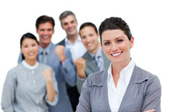 Positive business partners punching the air Stock Photo