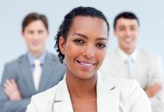 Positive business partners standing stock photos