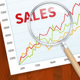 Positive business sales chart. On wood background with magnify glass. layered vector illustration