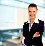 Positive business woman. Smiling over white background royalty free stock photography