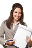 Positive business woman showing blank signboard Royalty Free Stock Photo