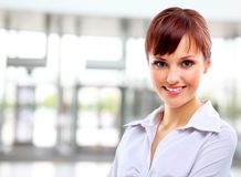 Positive business woman smiling Stock Images