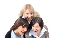 Positive business women,  looking up and smiling. Royalty Free Stock Images